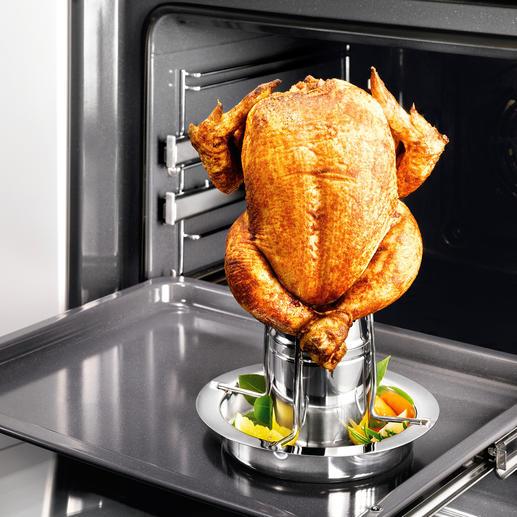 Rôtissoire de poulet avec récipient arômes Maintenant, avec récipient arômes. Votre volaille croustillante est encore plus juteuse, plus aromatique.