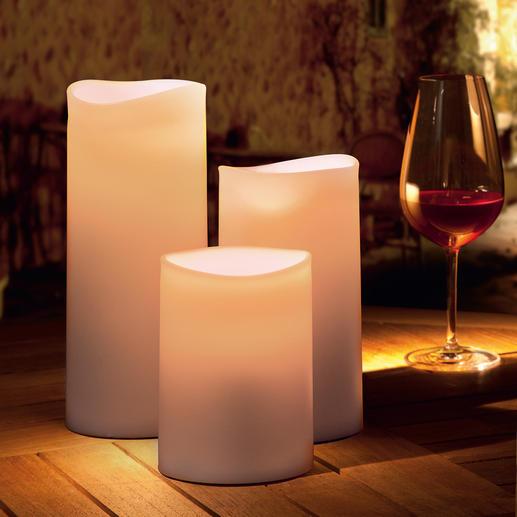 Bougies d'extérieur DEL Une lueur vivante et chaude – sans danger et insensible à la pluie.