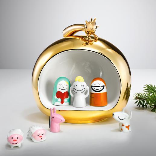 """""""Crèche de Noël"""" Alessi Originale, charmante et colorée : crèche accrocheuse en porcelaine précieuse peinte à la main."""