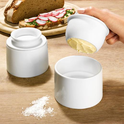 Beurrier à eau Maintient le beurre au frais à la température ambiante. Parfaitement assorti à tous les services.