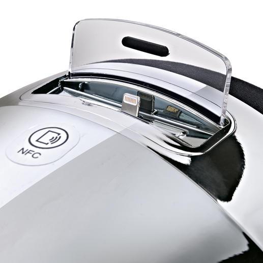 Les modèles les plus récents d'iPhone (à partir de la version 5) et d'iPod (touch à partir de 5G, nano à partir de 7G) munis d'un connecteur Lightning sont pris en charge par l'adaptateur compris dans la livraison. Pour les modèles plus anciens d'Apple, il suffit simplement de les poser, sans adaptateur.