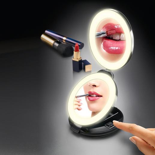Miroir de poche 2 en 1 À la fois  miroir de poche et miroir cosmétique grossissant. Éclairage par DEL.