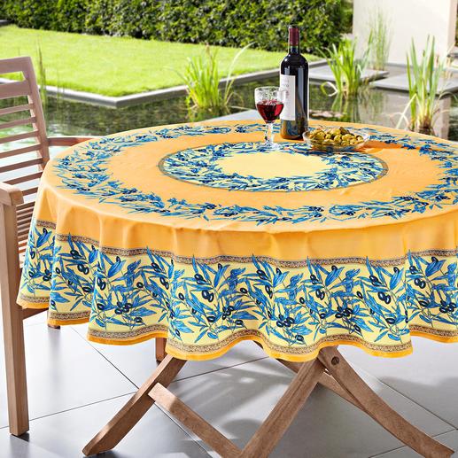 Nappe au motif olives lavable Typiquement provençale : la nappe au motif olives en 100 % coton. Mais 100 % antitaches.