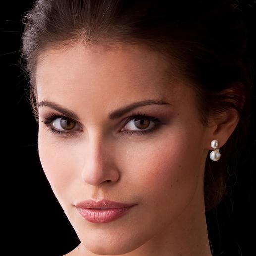 Boucles d'oreilles 2-en-1 « perle flottante » 1 paire de boucles d'oreilles – 2 looks. Atout : la deuxième perle à crocheter derrière.