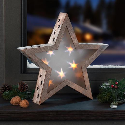 Hologramme étoile Une étoile en bois aux effets fascinants. Lumière stellaire pour un éclairage d'ambiance ensorcelant.