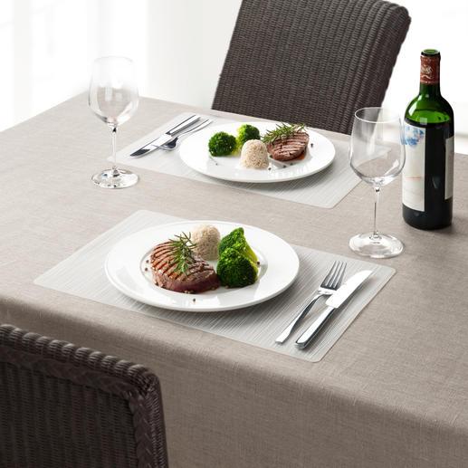 Sets de table en silicone, lot de 4 pièces Les sets de table en silicone flexible. Gardent leur forme, adaptés au lave-vaisselle.