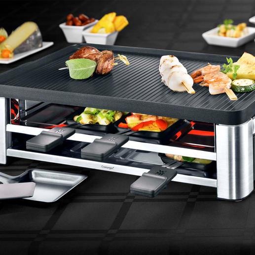 Raclette multi WMF LONO À la fois raclette, grill de table et crêpière. Avec accessoires, pour 8 personnes.