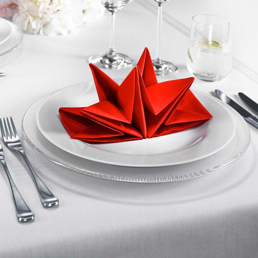 Serviettes origami Serviettes soigneusement pliées en forme d'étoile – à déployer en un tour de main.