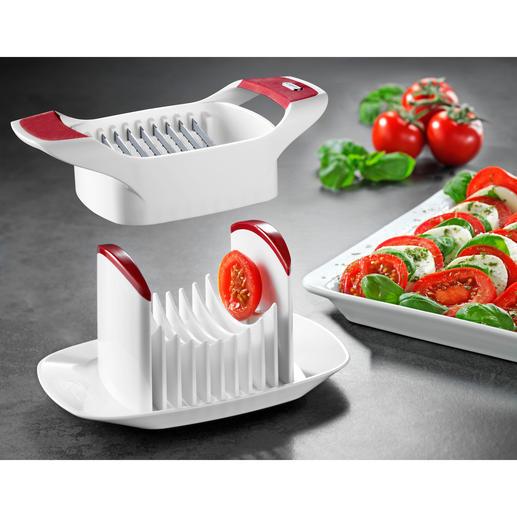 Trancheuse à tomates/Caprèse Zyliss® Simplicité ingéniosité et rapidité : des tranches parfaites de tomates, de mozzarella, d'œufs, ...