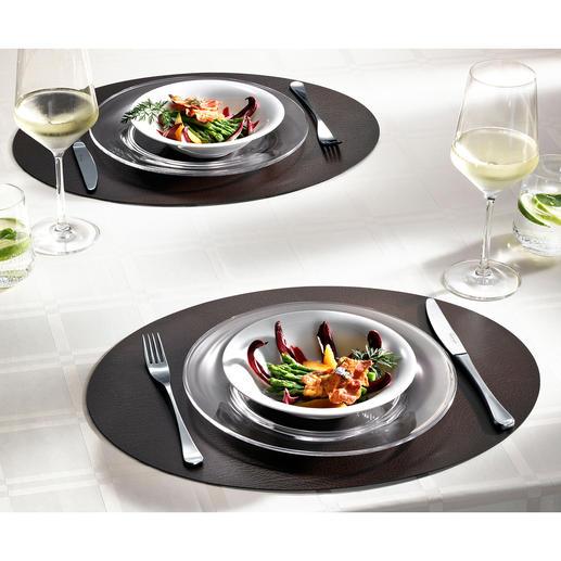 Set de table, lot de 2 Luxueux tissu fibre de cuir : imperméable, antitaches et durablement esthétique.