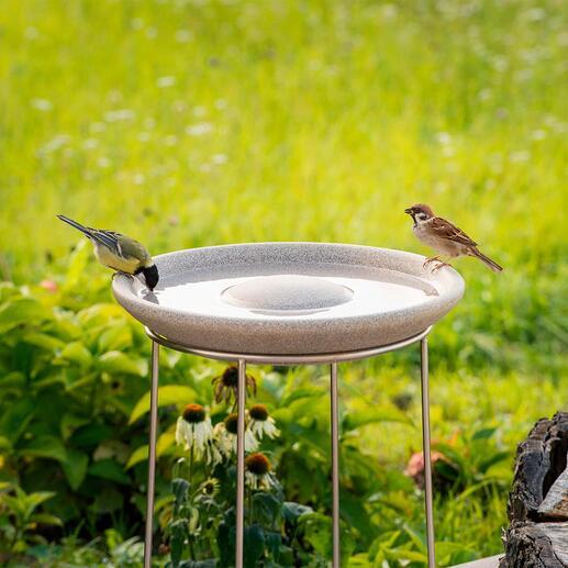 Abreuvoir à oiseaux Granicium® avec support en acier inox Design moderne. La hauteur de 50 cm permet d'éloigner les chats etc. Résistance UV et aux intempéries.