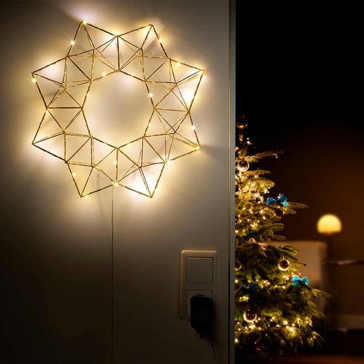 Etoile lumineuse pyramidale Eclairage festif et néanmoins discret et tamisé : l'étoile lumineuse DEL à la forme géométrique actuelle.
