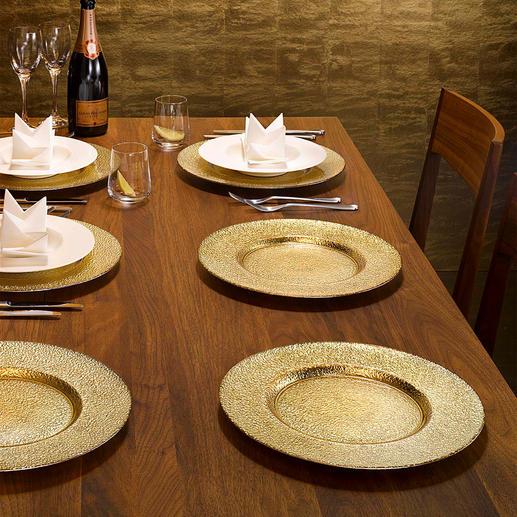 Assiettes de présentation en verre,  lot de 6 Votre table prend un air festif en un clin d'œil. Avec reflets dorés et argentés sous verre.