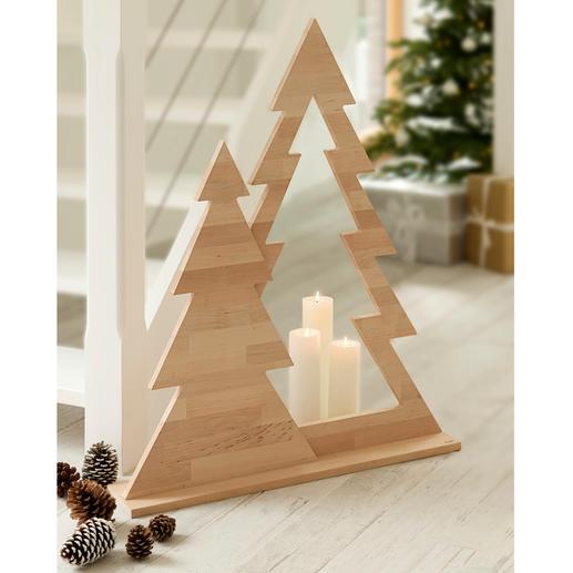 Duo de sapin Décor de Noël moderne, bien loin du kitsch habituel. Forme sobre. Design épuré. En bois d'aulne naturel.