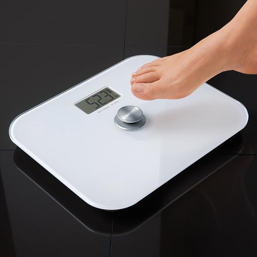 Pèse-personne numérique sans pile Plus besoin de changer les piles. Préserve l'environnement et fonctionne à vie !