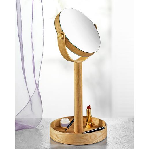 Miroir de maquillage Close Up - Miroir de maquillage réversible, avec élégant cadre en chêne et grand casier de rangement dans la base.