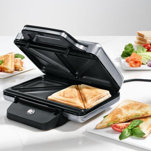 Toaster à sandwich WMF LONO Beaucoup plus sûr : ce toaster à sandwich en acier inoxydable (Cromargan®) garde des parois extérieures froides.