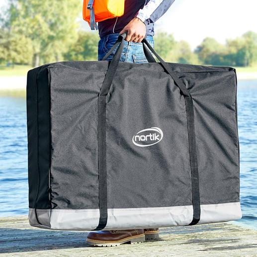 Une invention géniale: un kayak qui se replie et se range dans un sac facile à porter sur les épaules.