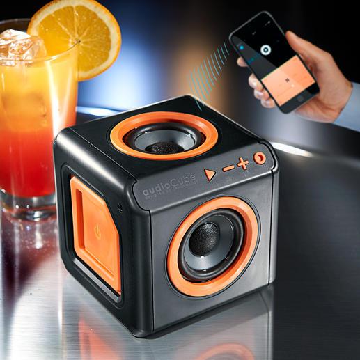 Enceinte Bluetooth 360° - Le cube Bluetooth avec 4haut-parleurs placés autour. Jusqu'à 10h de musique nonstop sans raccord secteur.