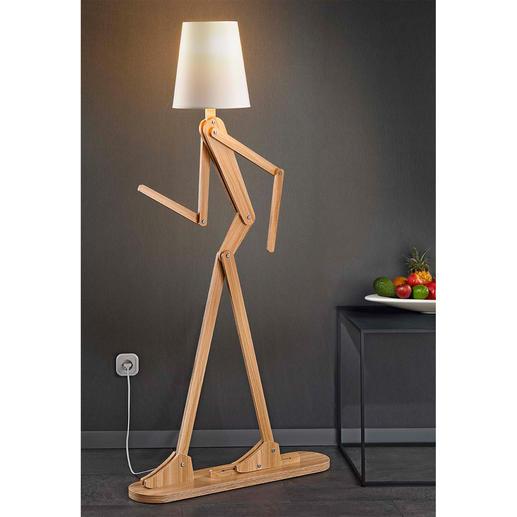 Lampadaire « Humain » Cette sculpture lumineuse mobile adopte la posture que vous voudrez lui donner.