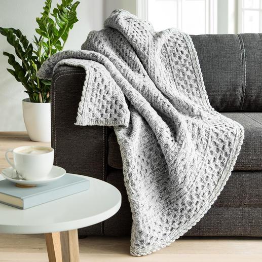 Plaid en tricot Aran Irelands Eye - La nature à l'état pur : laine mérinos chaude enrichie de cachemire.