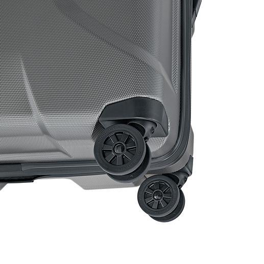 Les quatre roulettes jumelles gommées pivotant à 360 ° sont particulièrement silencieuses et stables.