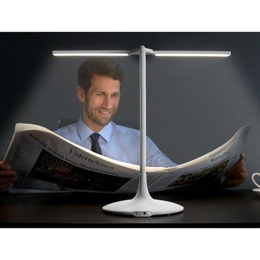 Lampe de table mobile à batterie Enfin en version sans fil : la lampe de table 180 ° avec 3 températures de couleur, variateur et minuteur.