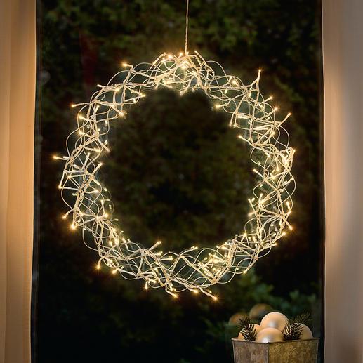 Couronne LED de décoration Un éclat de lumière qui créé une ambiance agréable pour votre fenêtre, porte, décoration murale ou de table ...
