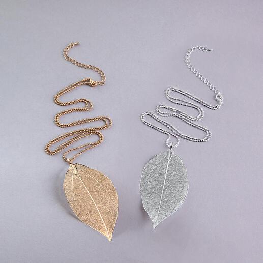 Collier à feuille Bodhi Conçue par la nature : la feuille de l'arbre Bodhi. Plaqué or ou argent. Chaque chaîne est unique.