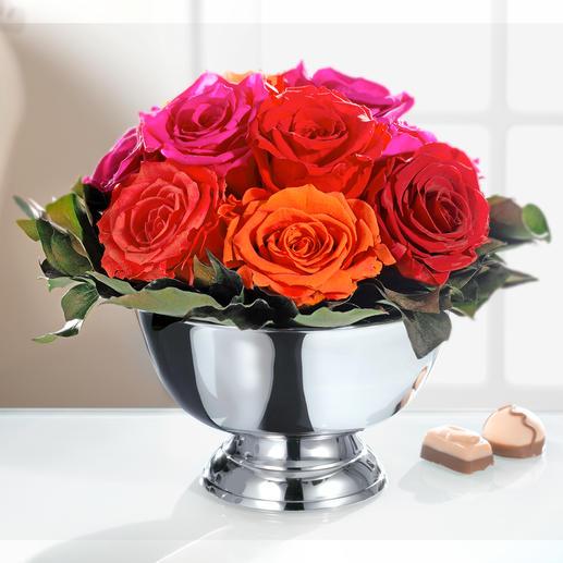 Arrangement de roses véritables Voici un bouquet dont vous profiterez de longues années durant.