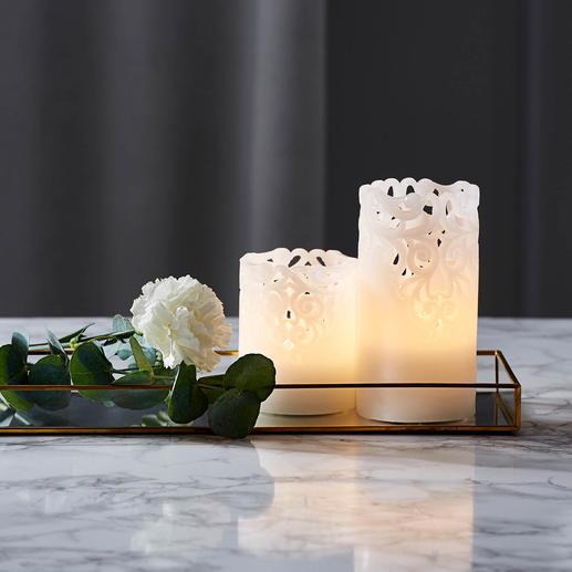 Bougies LED relief, lot de 2 Une belle lumière indirecte, parfaite pour les occasions festives.
