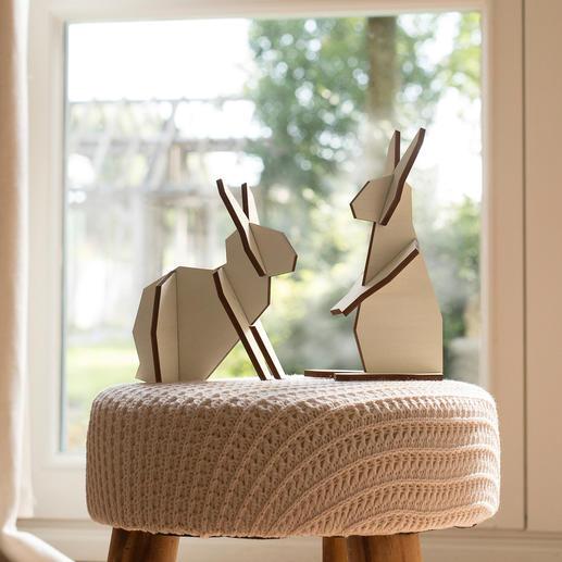 Duo de lapins en bois Stylés, sobres et assemblés en un clin d'œil.