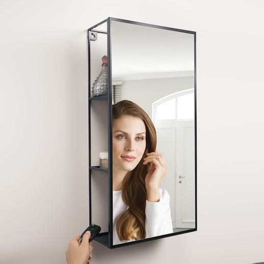 Etagère miroir Cubiko - Ingénieuse idée : le miroir qui dissimule un grand espace de rangement.