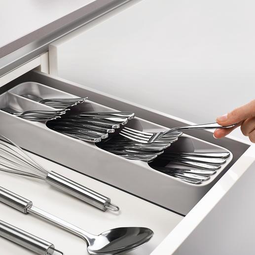 Organiseur compact pour couverts Un astucieux organiseur pour couverts, qui permet de gagner plus de 50 % de place dans le tiroir.