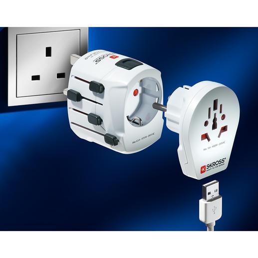 Adaptateur monde SKROSS® PRO World & USB L'un des adaptateurs les plus puissants et les plus polyvalents au monde.