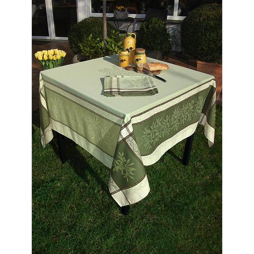 Nappe tissée motif olives Une belle ambiance estivale pour l'intérieur et l'extérieur. En 100 % coton, résistant et traité anti-taches.