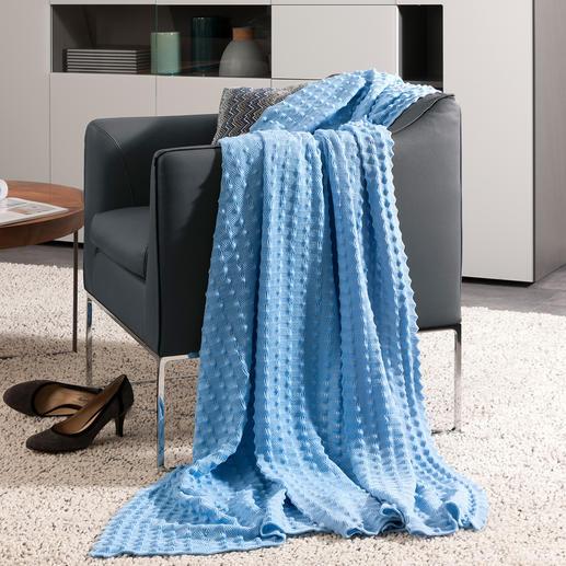 Plaid en tricot à picots StrickArt - Parfait à la maison ou en voyage. Ultra doux et décoratif.