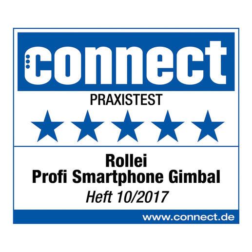 5 étoiles (sur 5 possibles) pour le stabilisateur Rollei Profi smartphone Gimbal à l'issu du test pratique.  connect, cahier 10/2017.