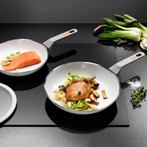 Poêle standard ou Poêle grand format White Induction La poêle céramique améliorée. Résiste aux rayures et à la chaleur jusqu'à 400 °C.