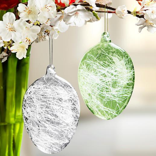 Œufs de Pâques à filaments de verre, 8 pièces Une décoration pascale au superbe jeu de lumière.