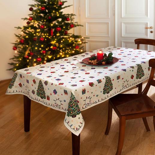 Linge de table aux motifs nostalgiques pour les fêtes de Noël Joyeux comme les souvenirs d'enfance ! Des teintes gaies, mais qui ne sont pas trop colorées.