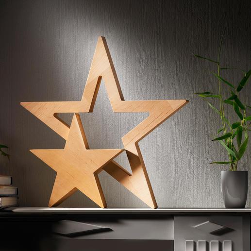 Duo d'étoiles - Forme claire, design épuré, beauté naturelle du bois d'aulne.