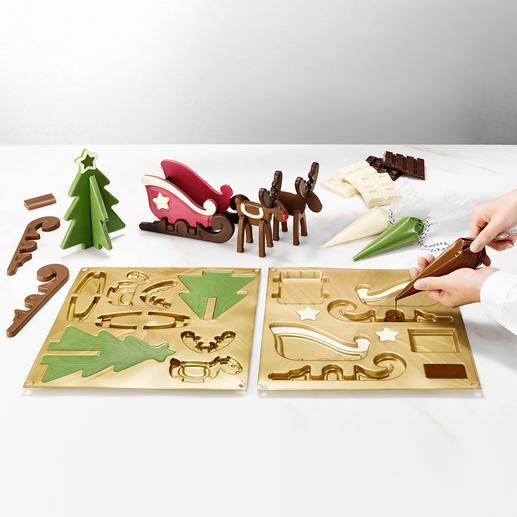 Moule à chocolat « traîneau avec rennes » Superbe décoration de l'Avent en chocolat. Par le décorateur professionnel Silikomart®.