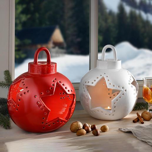 Photophore boule de Noël en céramique Un objet déco qui s'intègre à tous les styles d'intérieur. Exclusivement chez Pro-Idée.