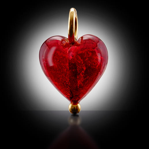 Pendentif coeur ou Collier or Murano De l'or scintillant, saisi dans des perles en verre de Murano.