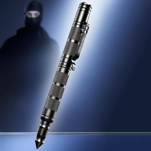 Tactical Pen 4 outils en un seul : stylo solide, lampe LED, brise-vitre et outil d'auto-défense.