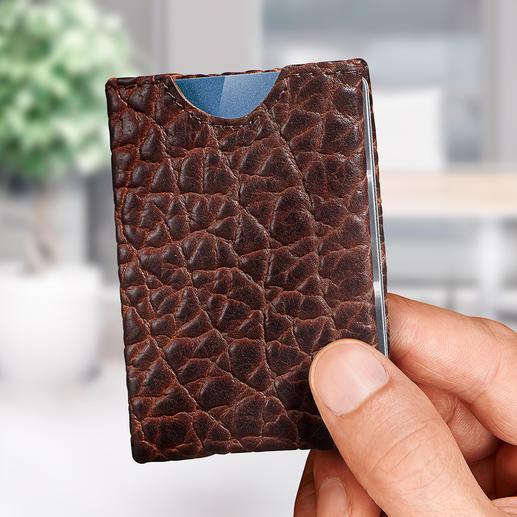 Porte-monnaie « Wallet » - En cuir de bison. Ingénieux porte-cartes à quatre compartiments.