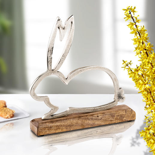 Silhouette « lapin » Ni kitsch ni trop chargé. En aluminium et bois de manguier massif.