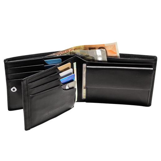 Portefeuille avec protection RFID Le portefeuille en cuir avec système de sécurité breveté pour vos cartes de crédit.