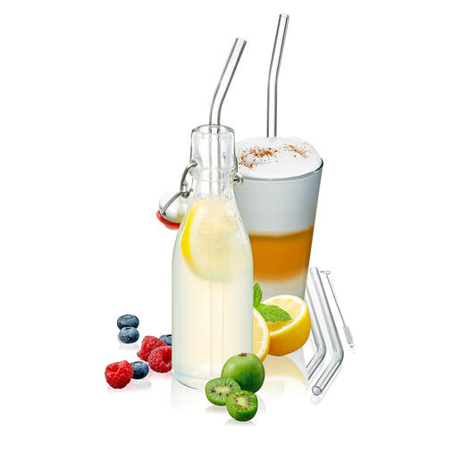 Pailles en verre, lot de 8 pièces Pailles en verre borosilicate et non pas en plastique : résistantes, facile à nettoyer et recyclables.